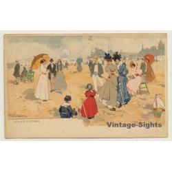 Henri Cassiers: La Plage A Ostende (Vintage Artist PC ~1900s)