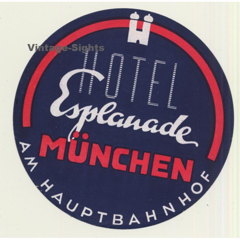 circa 1950 Hotel Esplanade ~HAMBURG GERMANY~ Beautiful Old Luggage Label