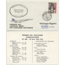 Air France / Concorde: Premier Vol Caracas-Paris 10 Abril 1976...