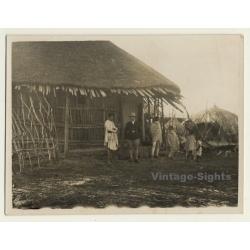 Ethiopia: German Traveler & Indigenous In Front Of Straw Hut...