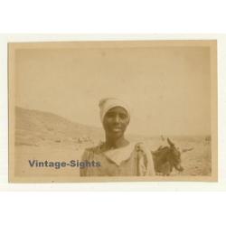 Maghreb: Pretty Bedouin Woman & Donkey (Vintage Photo...