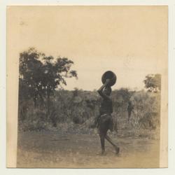Africa: Topless Native Woman Carries Vase On Head (Vintage...
