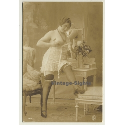 Jean Agélou?: Chubby French Nude In Bodice / Risqué (Vintage...