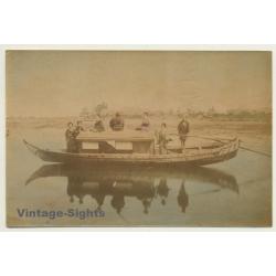 Japan: Geishas On River Boat / Yakatabune (Vintage Hand Tinted...