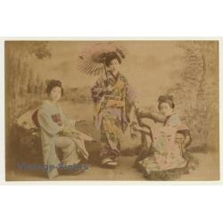Japan: Geishas In Kimonos / Wagasa - Meiji Period (Vintage...