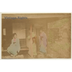 Japan: 3 Geishas On Porch Of Minka / Meiji Period (Vintage...