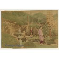Japan: 2 Geishas & Baby Girl In Garden / Meiji Period (Vintage...