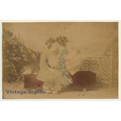 Japan: 2 Geishas Embracing Each Other / Meiji Period (Vintage...