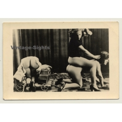 3 Nudes Playing 'Horse Pulls Carriage' / Lesbian INT (Vintage...