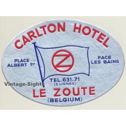 Le Zoute / Belgium: Carlton Hotel (Vintage Luggage Label)