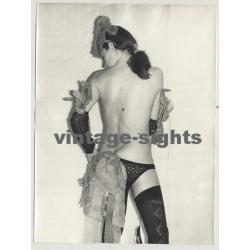 Rear View On Slim Topless Woman W. Fancy Lingerie (Vintage Amateur Photo 60s/70s L)