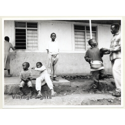 Tanzania: Local Pupils & Teacher In Front Of School / Ethno...