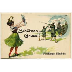 Schützengruss - Aunt Sally - Rifle (Vintage Postcard Litho...