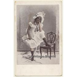 Sweet Girl With Rhythmic Gymnastics Hoop (Vintage Postcard...