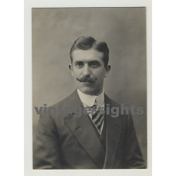 Well Styled Man W. Thick Moustache & Side Part (Vintage Photo 10s/20s Gay Int)