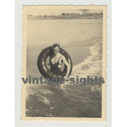 Handsome Man W. One Piece Swimsuit & Swim Ring (Vintage Photo 30s/40s Gay Int)