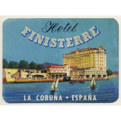 Hotel Finisterre - La Coruña / Spain (Vintage Luggage Label)