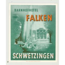 Bahnhofhotel Falken - Schwetzingen / Germany (Vintage Luggage Label)