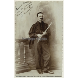 Portrait Of Unidentified Flutist - Belgium? (Vintage Photo...