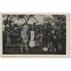Congo-Belge: Medicine Man & Indigenous Tribe (Vintage RPPC...