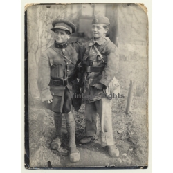 Great Shot: 2 Young Boys In Military Uniforms - Belgium?...