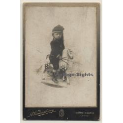 A. Vanderplancq: Baby Girl On Rocking Horse (Vintage Cabinet...
