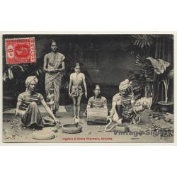Colombo & Ceylon: Jugglers & Snake Charmers (Vintage PC 1914)