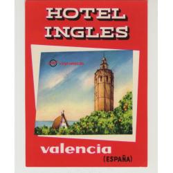 Hotel Ingles - Valencia / Spain (Vintage Luggage Label)