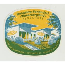 Bungalow-Feriendorf Wesergergland - Bodenwerder / Germany (Vintage Luggage Label)