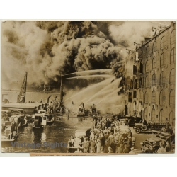 New York / USA: Big Fire At Harbor / Brooklyn - Fire Fighters...