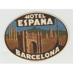 Hotel España - Barcelona / Spain (Vintage Luggage Label)