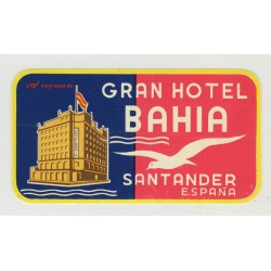 Gran Hotel Bahia - Santander / Spain (Vintage Luggage Label)