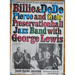 Billie & De De Pierce with George Lewis - Vintage Concert Poster (Günther Kieser)