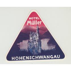 Hotel Müller - Hohenschwangau / Germany (Vintage Luggage Label)