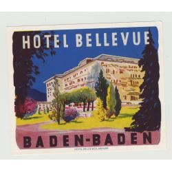 Hotel Bellevue - Baden-Baden / Germany (Vintage Luggage Label SMALL)