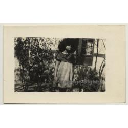 Beautiful Shot Of Young Girl In Garden / Hat (Vintage RPPC 1923)