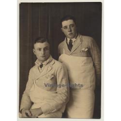 Portrait Of 2 Young Belgian Butchers (Vintage Photo ~1920s/1930s)