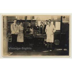 Belgian Workforce In Front Of Metal Lathe (Vintage Photo...