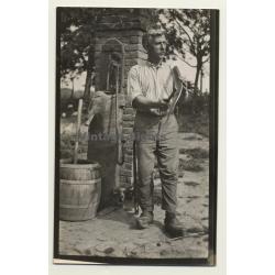 Belgian Farmer Grinds Scythe / Klumpen - Cloqs (Vintage Photo...