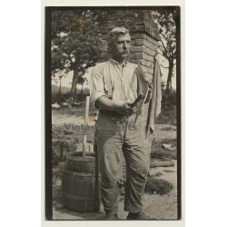 Belgian Farmer Grinds Scythe *2 / Wooden Barrel (Vintage Photo...