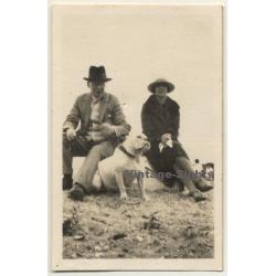 Stylish Couple & White English Bulldog (Vintage Photo...
