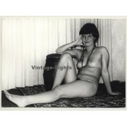 Brunette Nude Female On Carpet / Legs - Tan Lines (Vintage...