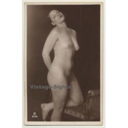 French Nude Kneels On Louis XVI Chair / Boudoir - Risqué...