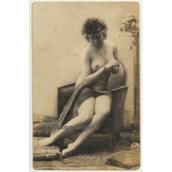P.C. Paris 1606: Pretty Topless French In Lounge Chair /...