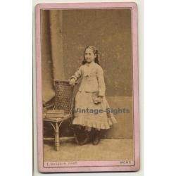 E. Quequin / Mons: Little Girl In White Victorian Dress...