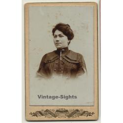 Portrait Of Unidentified Belgian Woman / Updo (Vintage Carte...