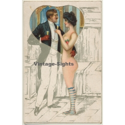 Couple Clink Glasses / Erotic Gimmick (Vintage Die-Cut PC ~1900s)