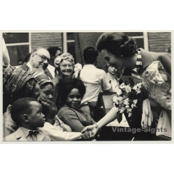 Queen Fabiola Of Belgium With Congolese Kids *2 (Vintage...
