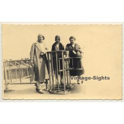 3 Elegant Belgian Ladies At Waterfront (Vintage RPPC ~1920s)