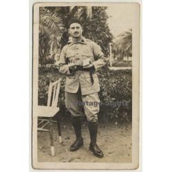 Spanish Soldier In Uniform / Moustache - Boots (Vintage RPPC...